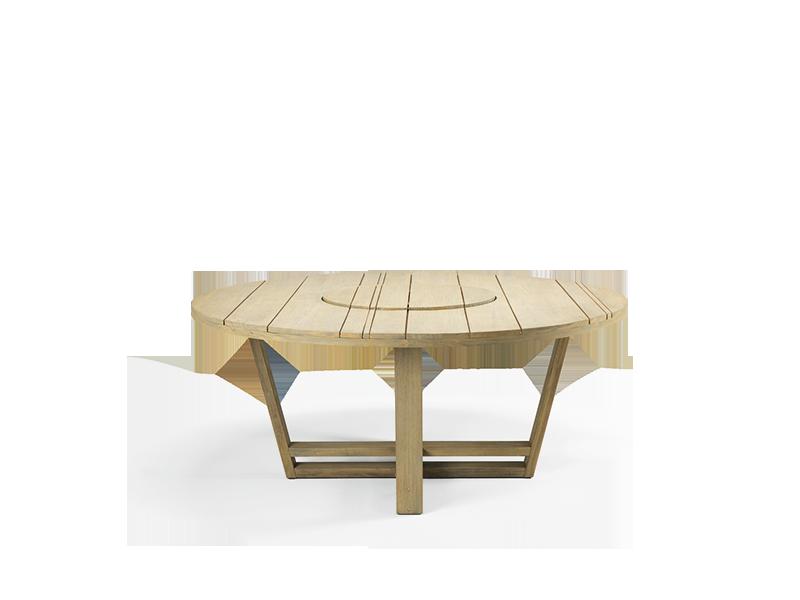 Tavolo rotondo in teak naturale o decapato tavoli da esterno ethimo shop - Tavolo rotondo da giardino ...