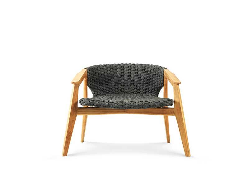 Ethimo Knit poltrona lounge con schienale basso