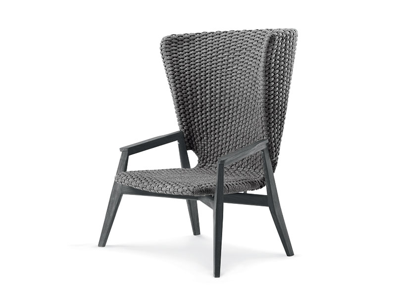 Ethimo Knit poltrona lounge con schienale alto