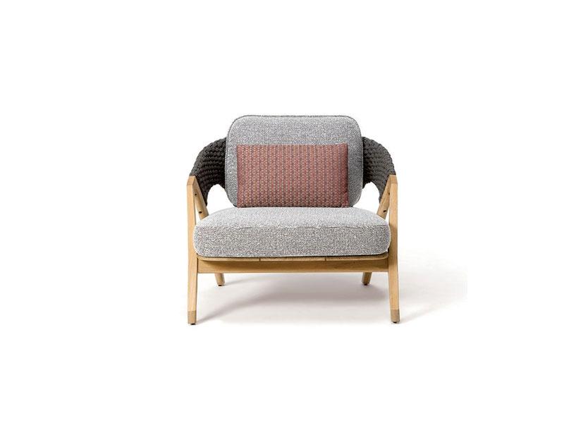 Ethimo Knit poltrona lounge in teak