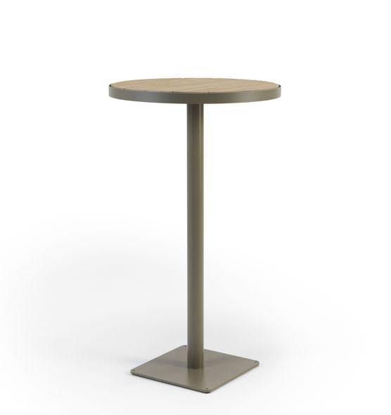 Tavolo alto rotondo diametro 60 in teak decapato e metallo for Tavolo tondo alto