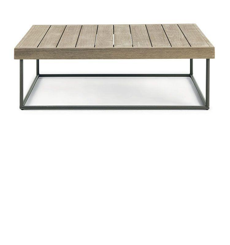 Allaperto Mountain / <small>Etwick</small> – Tavolo basso rettangolare 70x100 - tavolino rettangolare in teak decapato e metallo Ethimo