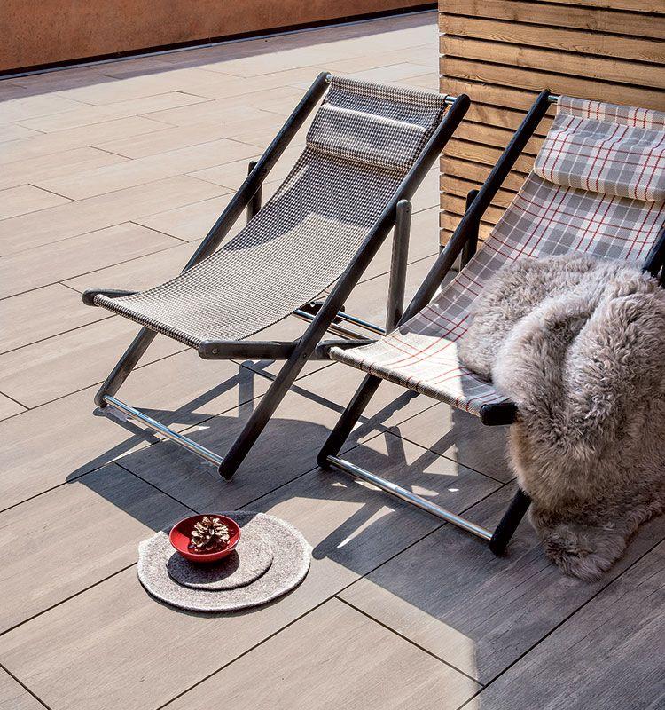Elle – Sedia a sdraio - Sdraio per giardino o bordo piscina in teak decapato chocolate Ethimo