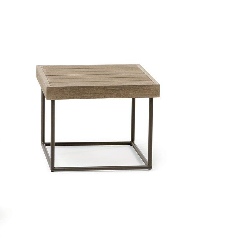 Allaperto Mountain / <small>Etwick</small> – Tavolo basso quadrato - Tavolino quadrato in teak decapato Ethimo