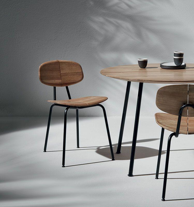 Agave – Sedia dining - Sedia in teak naturale e metallo Ethimo
