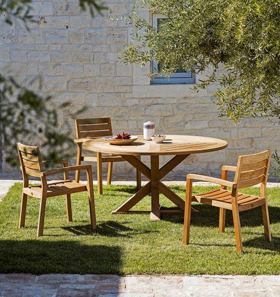 Cronos – Tavolo in teak rotondo - tavolo da giardino rotondo Ethimo