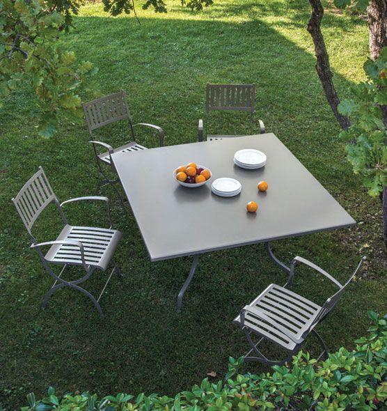 Tavolo da giardino quadrato in acciaio 140x140 cm | Tavoli ...