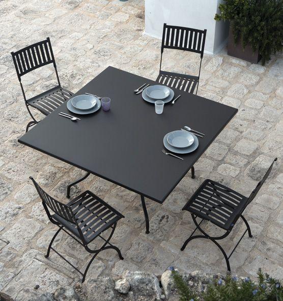 Tavolo Quadrato Da Esterno.Tavolo Da Giardino Quadrato In Acciaio 140x140 Cm Tavoli Da