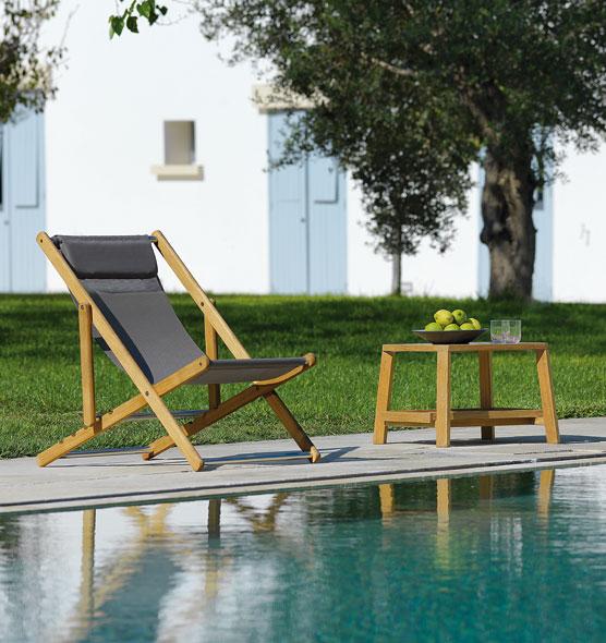Elle – Sedia a sdraio - Sdraio per giardino o bordo piscina in teak naturale Ethimo