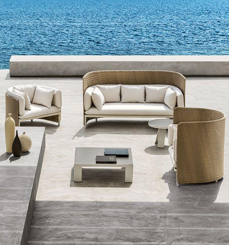 Poltrona lounge collezione Esedra - poltrona in fibra Natwick a trama chiusa e alluminio Ethimo