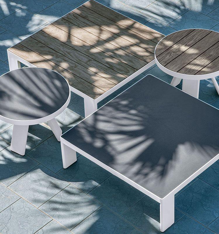 Tavolo basso 90x90 - tavolino con top in teak o pietra-ceramica Ethimo