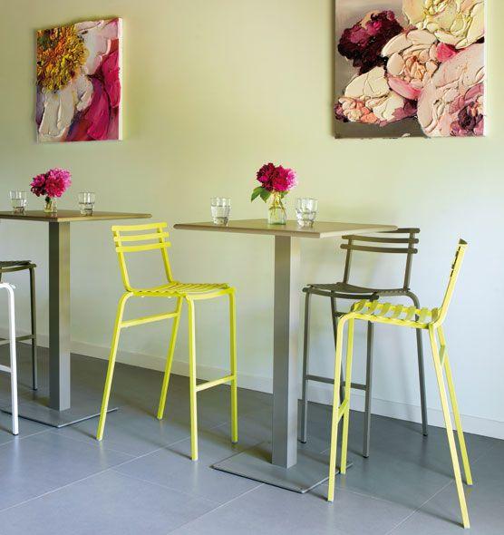 Flower – Sgabello alto - Sgabello da giardino in metallo colorato Ethimo