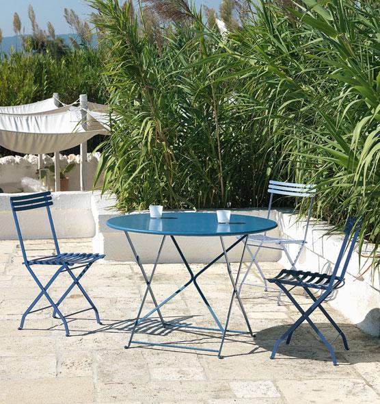 Tavolo rotondo da giardino 105cm in metallo tavoli da for Tavolo giardino metallo