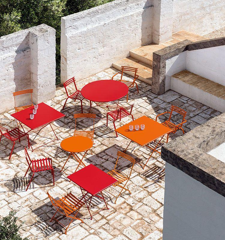 Tavolo rettangolare in metallo Flower - tavolo 55x70cm per outdoor, colori a scelta Ethimo