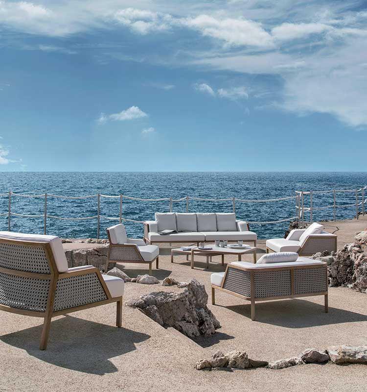 Grand Life – Poltrona - Poltrona lounge in teak e corda intrecciata Ethimo