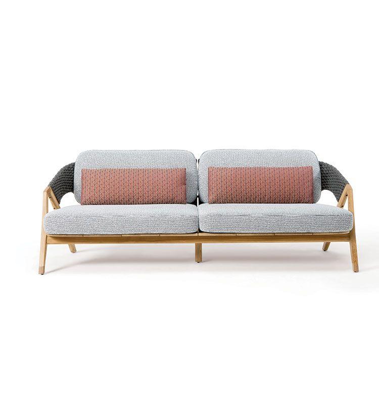 Knit – Divano 3 posti - Divano da giardino a 3 posti in teak Ethimo
