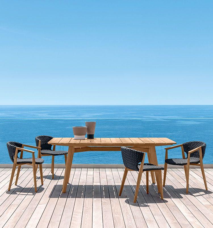 Knit – Tavolo dining rettangolare - Tavolo da giardino in teak Ethimo
