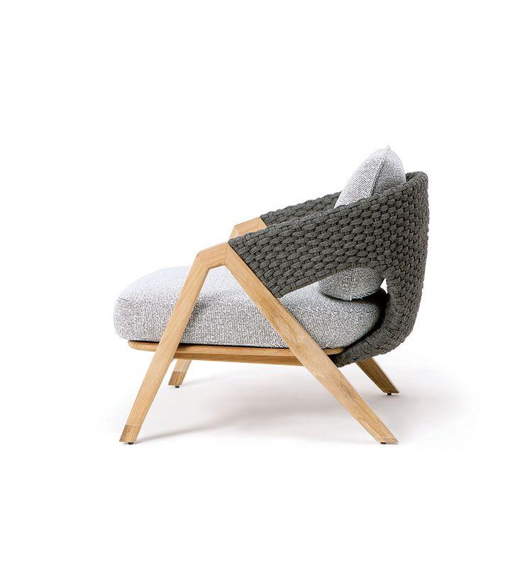 Knit – Poltrona - Poltrona da giardino in teak e corda intrecciata Ethimo