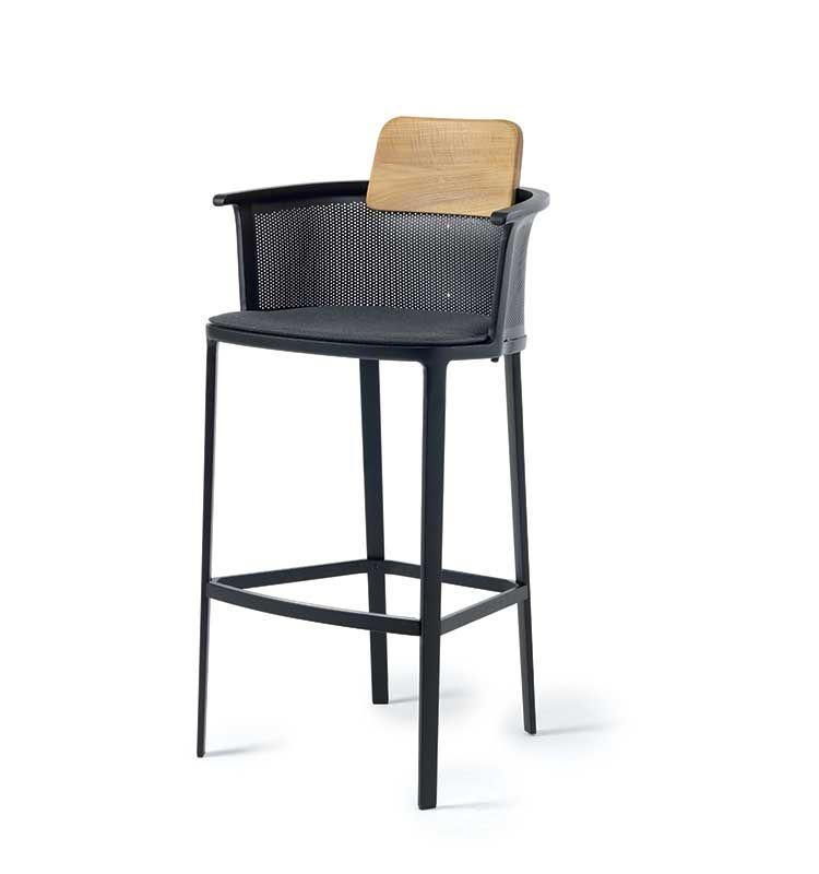 Nicolette – Sgabello - Sgabello alto in alluminio e schienalino in teak Ethimo