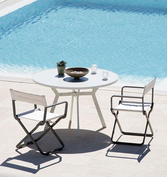 Tavolo rotondo in alluminio con foro centrale per ombrellone tavoli da esterno ethimo shop - Tavolo rotondo con piede centrale ...