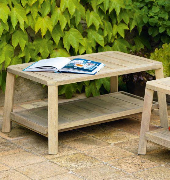 Tavolino basso rettangolare con vassoio estraibile pouf for Tavolini da esterno