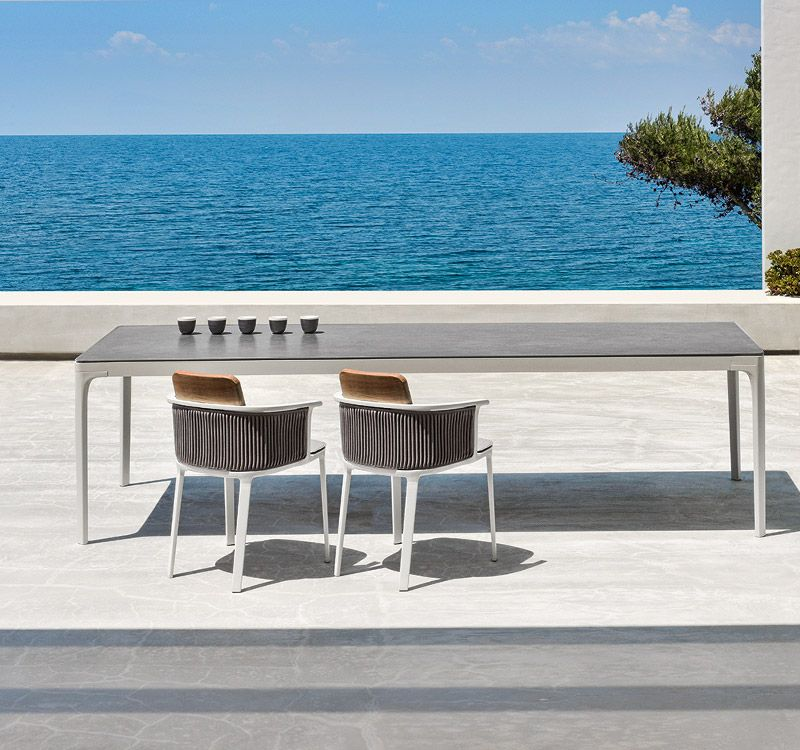 Piani Tavoli Per Esterno.Tavolo Grande Rettangolare In Alluminio E Top In Teak Pietra