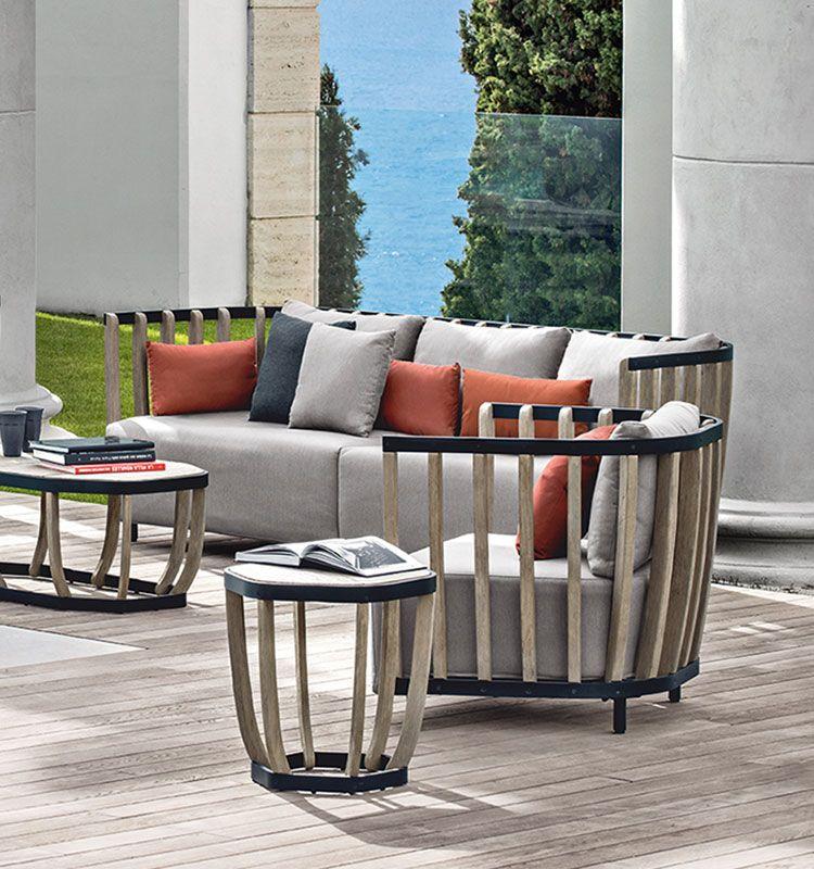 Swing – Divano da giardino 3 posti - divano in teak e alluminio Ethimo