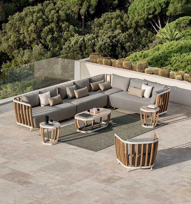 Swing – Tavolo basso da giardino - Tavolino in teak e alluminio Ethimo