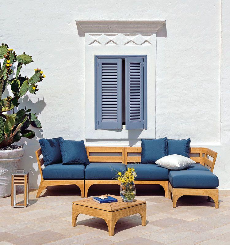 Divano angolo simmetrico in teak con cuscino waterproof da - Altezza seduta divano ...