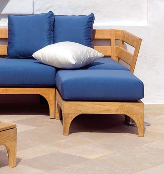 Pouf da giardino in teak naturale con cuscino acrilico | Pouf e ...