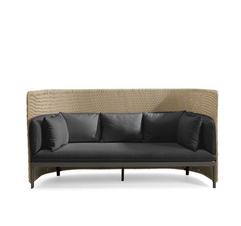 Divano outdoor a tre posti con schienale alto a trama - Altezza seduta divano ...