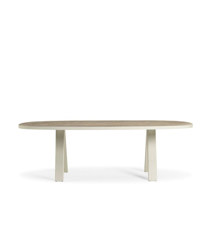 Tavolo outdoor ovale in alluminio e piano in teak decapato tavoli da esterno ethimo shop - Tavolo decapato ...