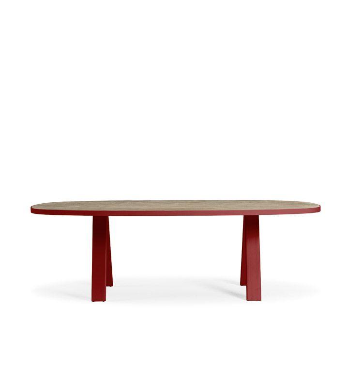 Esedra – Tavolo dining 240x112 - Tavolo ovale con piano in teak decapato Ethimo