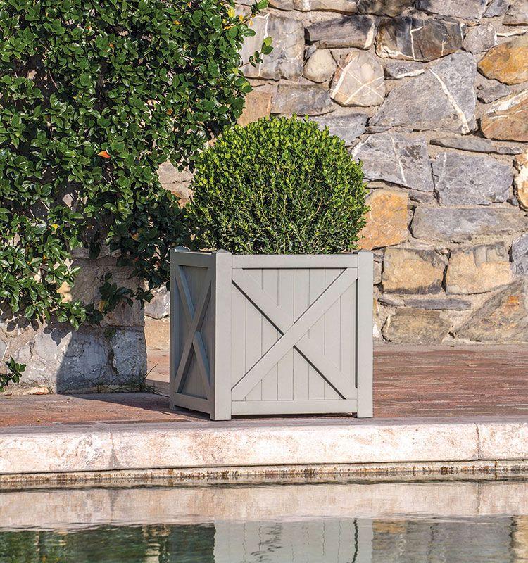 Flair - fioriera quadrata - Fioriera a croce in legno Ethimo