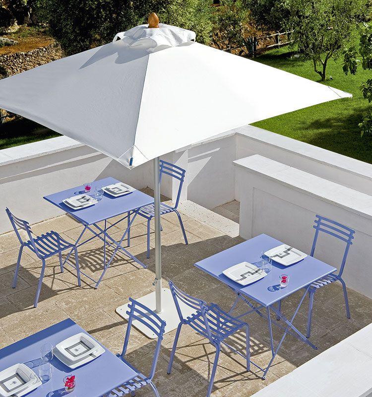 Tavolo quadrato ampio collezione Flower - tavolo pieghevole in metallo colorato Ethimo