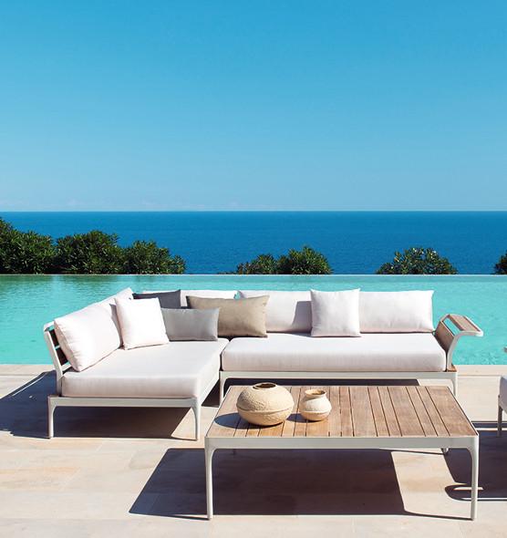 Modulo ad angolo xl da esterno acrilico in alluminio e teak poltrone e divani da giardino - Divani x esterno ...