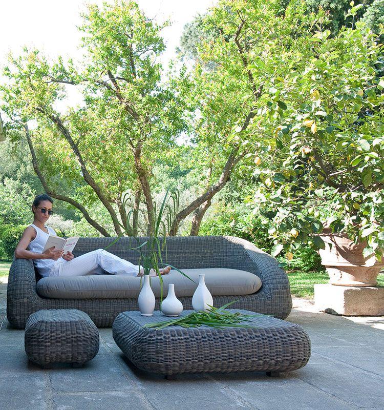Divano a tre posti in fibra etwick con cuscino per seduta for Divano a elle