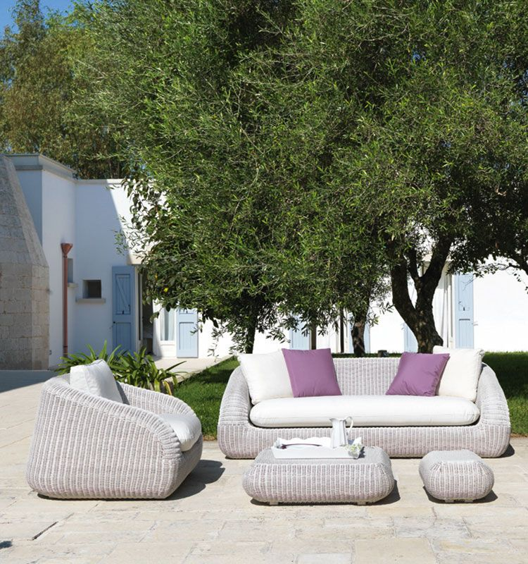 Divano a 3 posti in fibra Phorma - Divano da giardino per tre persone Ethimo