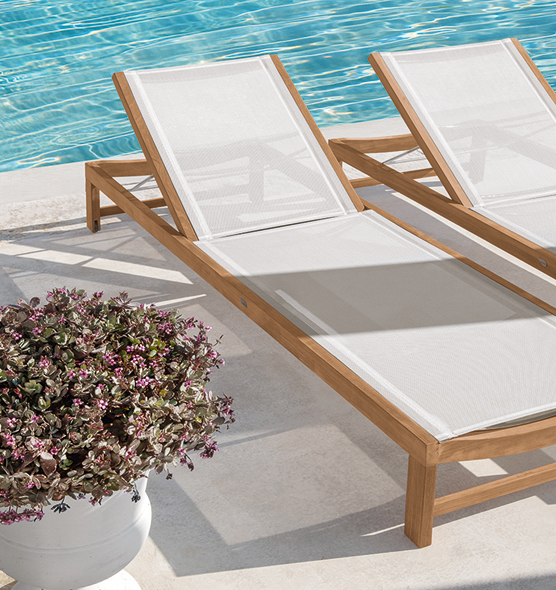 Sand – Lettino - Lettino reclinabile in teak con telo in Ethitex Ethimo